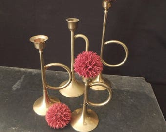 Brass Tone Horn Shaped Candlestick Holders - Musician Teacher Gift - Music Decor - Vintage Instant Collection