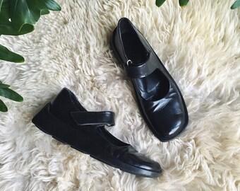 RESERVED 90's PRADA Shoes, 7 1/2 Black Mary Jane Shoes, Black Leather Flats, Minimalist Designer Dress Shoes, 90s Grunge Goth Platform Shoes