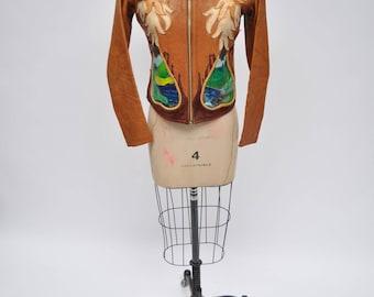 EAST WEST LEATHER vintage leather jacket hippie custom made east west musical instruments papaya custom