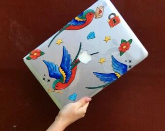 TATTOO SWALLOWS MACBOOK, Macbook Pro Retina 13 case, Macbook Pro Retina case, Macbook Pro 13 case, Macbook Pro 13 Retina case, Macbook 13