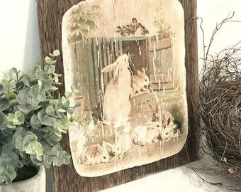 Easter Bunny Art - Farmhouse Easter - Easter Decorations - Farmhouse Decor - Easter Bunnies - Easter Decor - Vintage Easter - Shabby Easter