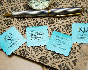 """150+ Turquoise Pearlised 1.5 inch Square Shiny Stickers, Envelope Seals. Custom Stickers. 1.5"""" Save the date stickers. Invitation Seals."""