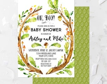 Rustic Woodland Baby Shower Invitation Printable Oh Boy! Forest Baby Shower  Invite Woodland Theme Baby
