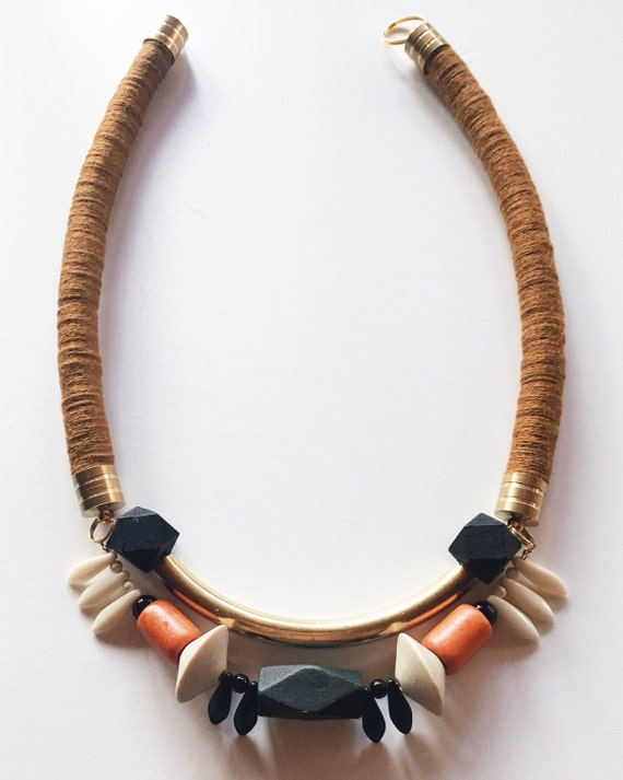 Symmetrical Statement Necklace in Golden Brown
