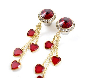 5/8 9/16 1/2 7/16 00g 0g 1 PAIR Queen of Hearts Gold Dangle Hanging Ear Plugs Gauges Tunnels Made With SWAROVSKI Elements Wedding Bridal