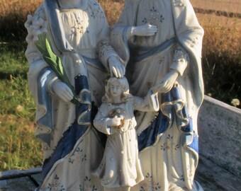 Small Porcelain Blue Holy Family St Joseph Virgin Mary Infant Jesus Statuette