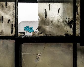 Broken Window And NYC Graffiti, Abandoned, Street Photography, NYC Art Print, Minimal Photo, Graffiti Art, New York Photo, Teal Photo