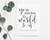 Printable Sign Our Globe Sign. Sign Our Globe Printable. Globe Sign. Globe Guestbook. Globe Guest Book. Wedding Guestbook. Guest Book.