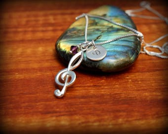 Music note necklace - Treble clef necklace - Personalized music necklace(Click on Item Details when using phone/tablet for more info)