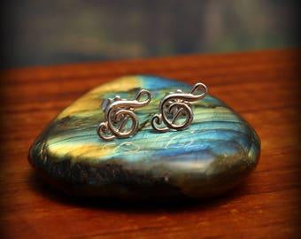 Treble clef post earrings, Sterling silver music note earrings