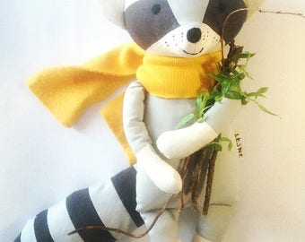 TITU the raccoon. made to order. handmade eco toy. stuffed raccoon. Minimal raccoon toy