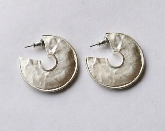 Matte Silver Semi-Hoop Earrings // Silver Plated Studs // 90's Vintage Hoop Earrings / Pierced Ears / Simple / Minimalist // Made in the UK