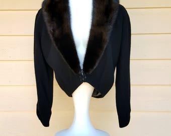 Black Vintage 1950's Sweater w Mink Collar