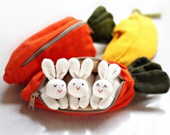 BUNNY SET 50 - 3 bunnies in carrot purse, Bunny toy, Bunny plush, Suffed bunny, Home decor