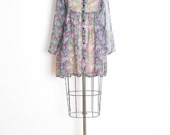 vintage 90s dress, sheer dress, 90s babydoll dress, floral print babydoll, black purple, 90s clothing, chiffon dress, 90s mini dress, S