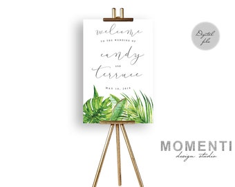 Tropical Wedding Welcome sign, palm beach wedding welcome sign printable, Elegant green reception sign printable, The Aura collection