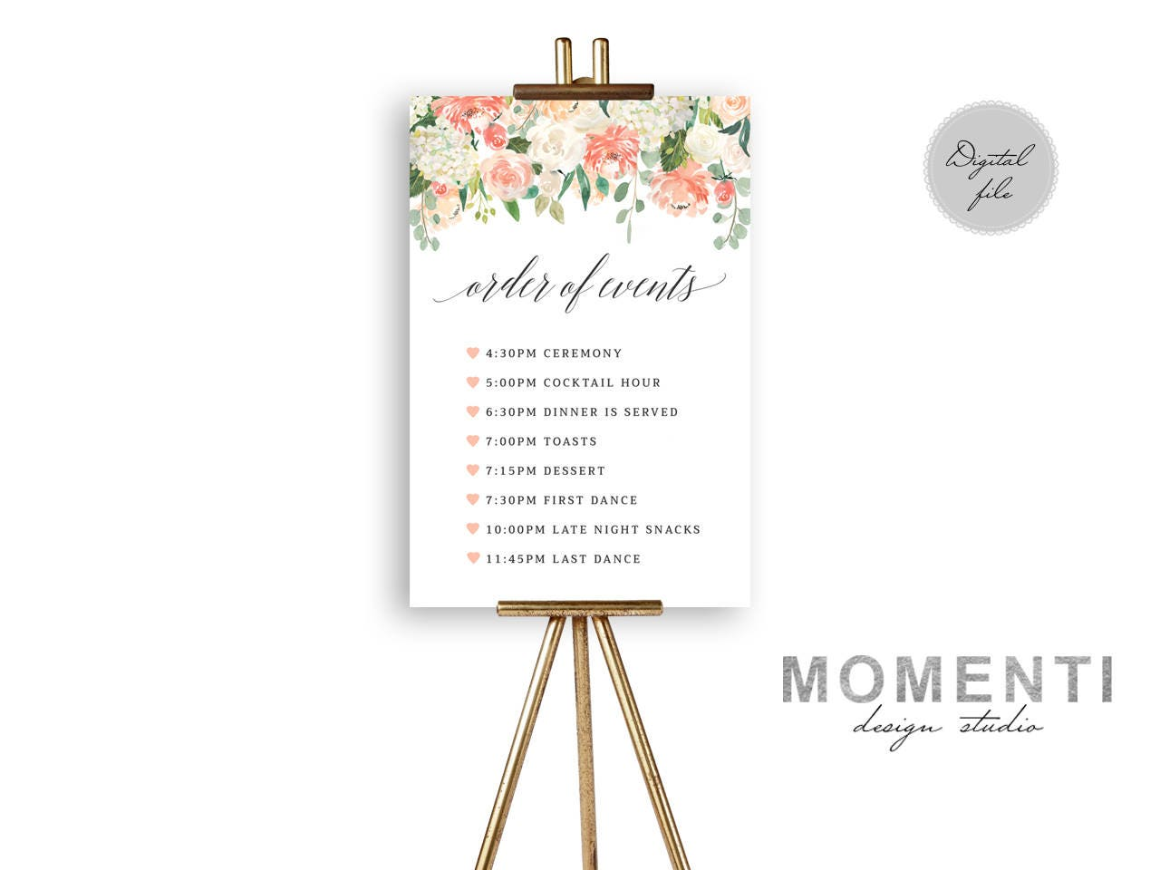 Order Of Events Sign Printable Timeline Wedding Sign Printable