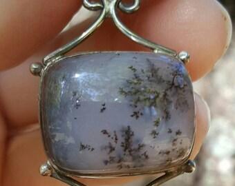 Dendritic Agate Smokey Quartz Sterling Silver 925 Pendant