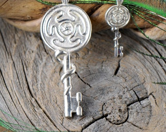Hekate's Key ~ Sterling Silver Pendant ~ Serpent Snake ~ Hellenic ~ Ancient Greek Pagan Goddess of Magic Crossroads Mystery & Necromancy