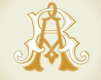 Vintage Monogram RA, AR | Wedding logo | Wedding Clip Art
