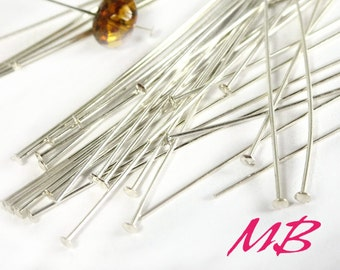 144 pcs Silver Plated Head Pins, 24 Gauge, 2 Inches