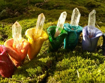 RAINBOW Fairy Crystal FLOWERS Fairy Garden Decor, Real Quartz Points,  Handmade, Fairy