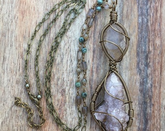 Long rutilated quartz & amethyst spirit quartz necklace with apophyllite, African turquoise, and smoky quartz / bohemian crystal necklace