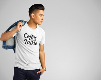 Coffee Before Talkie message tshirt, big letter causal Tee, gift for boyfriend, office causal t-shirt, Coffee lover, caffeine addictive top