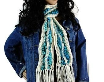 Snowy Bluebells Fringe Winter Scarf - Cream White Turquoise Blue - Gift Under 50 Chunky Outlander Knit Neckwarmer FREE SHIPPING CS18