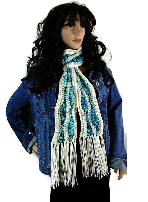 Snowy Bluebells Fringe Winter Scarf - Cream White Turquoise Blue - Gift Under 50 Chunky Outlander Knit Neckwarmer FREE SHIPPING CS18