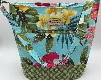 Large Handbag, Shoulder Bag, Bucket Bag, Purse in Tropical Floral with Adjustable Shoulder Strap - Made in Maui