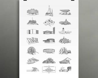 NEW ** Expo67 pavilions selection / 18x24 Poster / 20 of the many pavilions at the Expo67 in Montreal