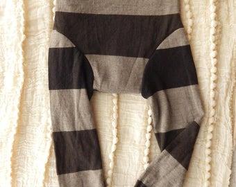 Brown Stripe Fine Wool Longies - LARGE