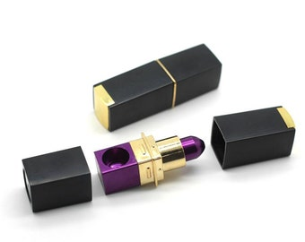Purple and Gold Lipstick Pipe / Secret Smoking Pipe / Tobacco Pipe