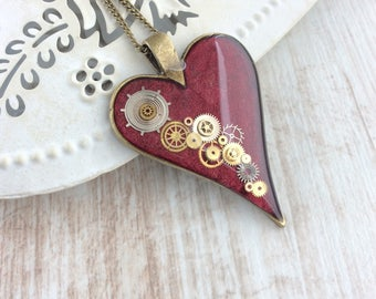 Steampunk Heart Necklace. Large Clockwork Pendant. Red Heart Necklace. Unique Necklace. Bronze Necklace. Large Pendant. Watch Parts Jewelry
