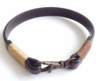 Leather Bracelet Mens Wrap Bracelet Bronze Clasp Men leather wrap Bracelet brown Leather bracelet cuff Bohemian mens Jewelry Man Bracelet