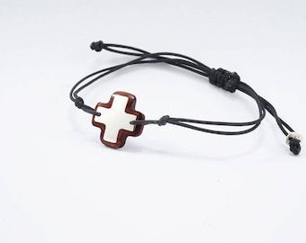 BRACELET MEDIUM CROSS Wooden High quality Handmade Jewelry by Silver 925 and Rosewood