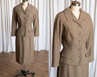 Merrimaker suit | vintage 50s suit | brown wool 1950s suit | brown 50s suit | 1940s brown suit | Nobbson / Carlson | belted back skirt suit