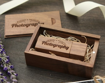 Wooden Walnut USB Box & USB Flash Drive Set- Custom Engraving Included