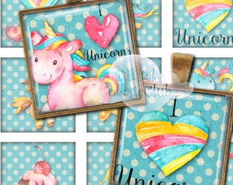 """Unicorn 1"""" x 1"""" Digital Collage Sheet 1 Inch Square Tile Images for Jewelry Making, Pendants, Scrapbooking, Decoupage, Cardmaking,"""