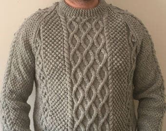 Made To Order Hand Knitted Grey Aran Wool Sweater-Crew Neck Sweater-Handmade Jumper-Cable Design Jumper-Mens Knitwear-Hand Knitted Sweaters