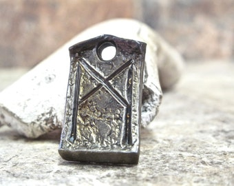 Hand-forged Mannaz Celtic Viking Rune Pendant - blacksmith wrought iron steel bag charm, necklace.
