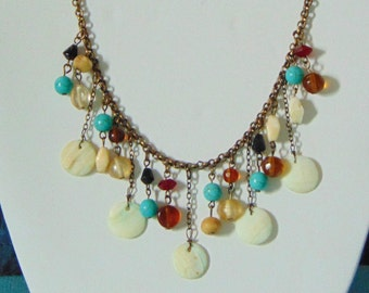 Turquoise & Mother of Pearl Statement Cascade Bib Brass Necklace