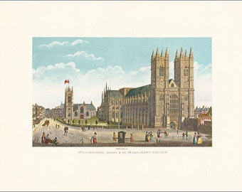Victorian London Westminster Abbey and St Margaret's Church vintage print coloured engraving 7 x 9.25 inches