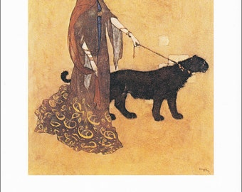 Arabian Nights Queen of the Ebony isles vintage art nouveau print illustration folk tale fairy tale black panther Edmund Dulac 8.5x11.5 in