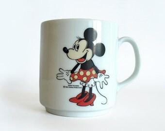 Minnie Mouse mug, Rösler porcelain, Walt Disney Productions, Disney collectible
