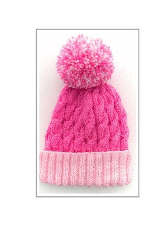 Knit Pom Pom Hat Pattern : Girls hand knitted cable Pattern Hat with pom Pom by ...
