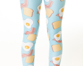 Rise n Shine Leggings, breakfast print, bacon leggings, breakfast leggings