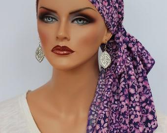 Jessica Pre-Tied Head Scarf - Women's Cancer Headwear, Chemo Scarf, Alopecia Hat, Head Wrap, Head Cover for Hair Loss - Purple Garden
