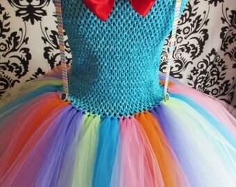 Adult Clown Dress/ clown tutu/ clown costume/tutu costume/ circus tutu/ circus tutu dress/circus dress/ rainbow dress/ rave tutu/ rave dress